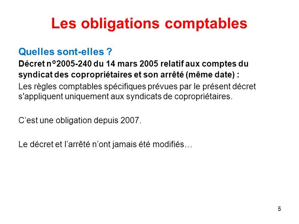 Les obligations comptables Quelles sont-elles ? Décret n°2005-240 du 14 mars 2005 relatif aux comptes du syndicat des copropriétaires et son arrêté (m