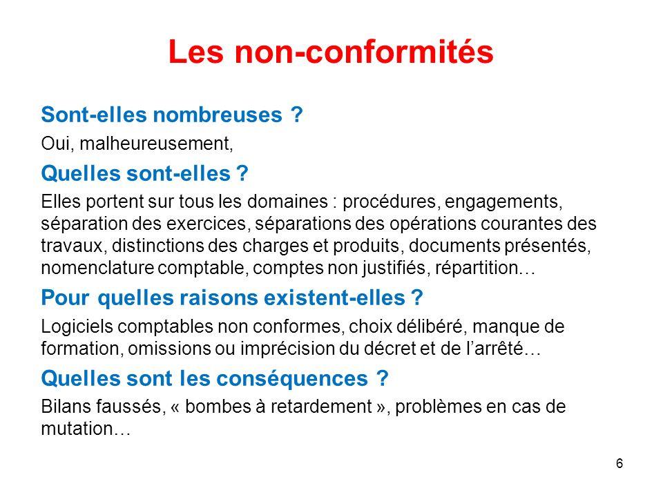 Les non-conformités Sont-elles nombreuses ? Oui, malheureusement, Quelles sont-elles ? Elles portent sur tous les domaines : procédures, engagements,