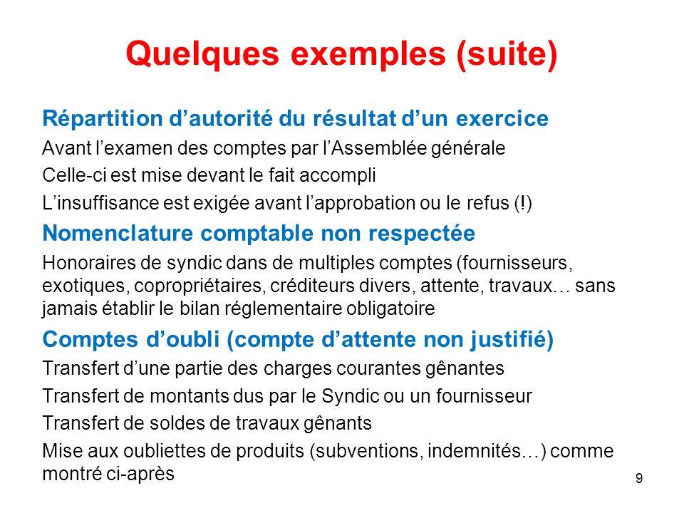 Quelques exemples (suite) Répartition dautorité du résultat dun exercice Avant lexamen des comptes par lAssemblée générale Celle-ci est mise devant le