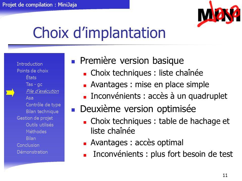 Projet de compilation : MiniJaja 11 Choix dimplantation Première version basique Choix techniques : liste chaînée Avantages : mise en place simple Inc