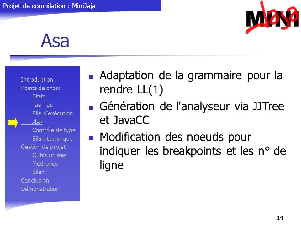 Projet de compilation : MiniJaja 14 Asa Adaptation de la grammaire pour la rendre LL(1) Génération de l'analyseur via JJTree et JavaCC Modification de