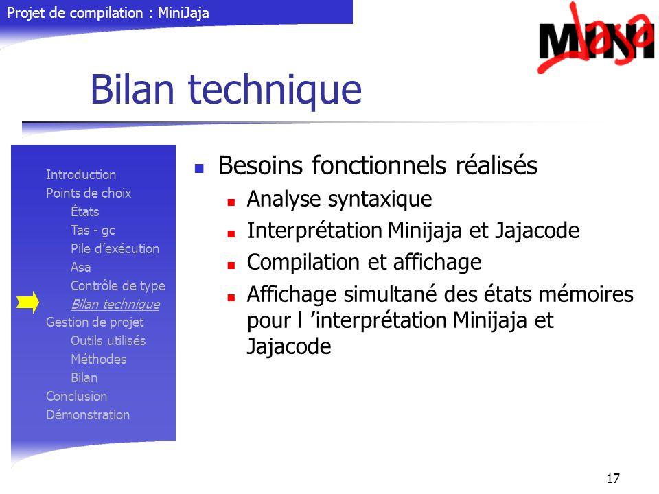 Projet de compilation : MiniJaja 17 Bilan technique Besoins fonctionnels réalisés Analyse syntaxique Interprétation Minijaja et Jajacode Compilation e
