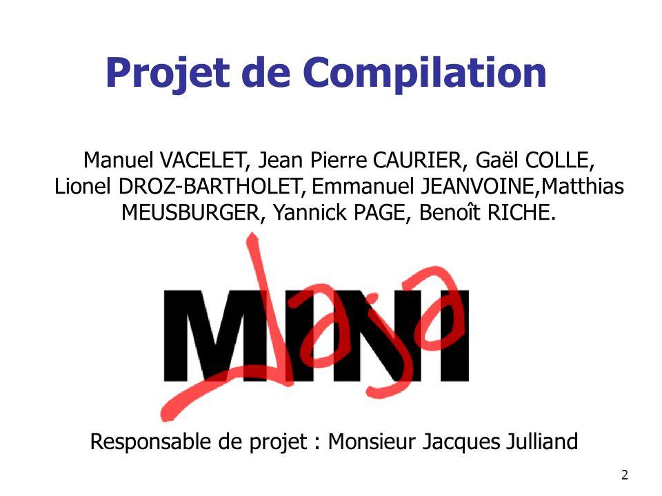 2 Projet de Compilation Manuel VACELET, Jean Pierre CAURIER, Gaël COLLE, Lionel DROZ-BARTHOLET, Emmanuel JEANVOINE,Matthias MEUSBURGER, Yannick PAGE,