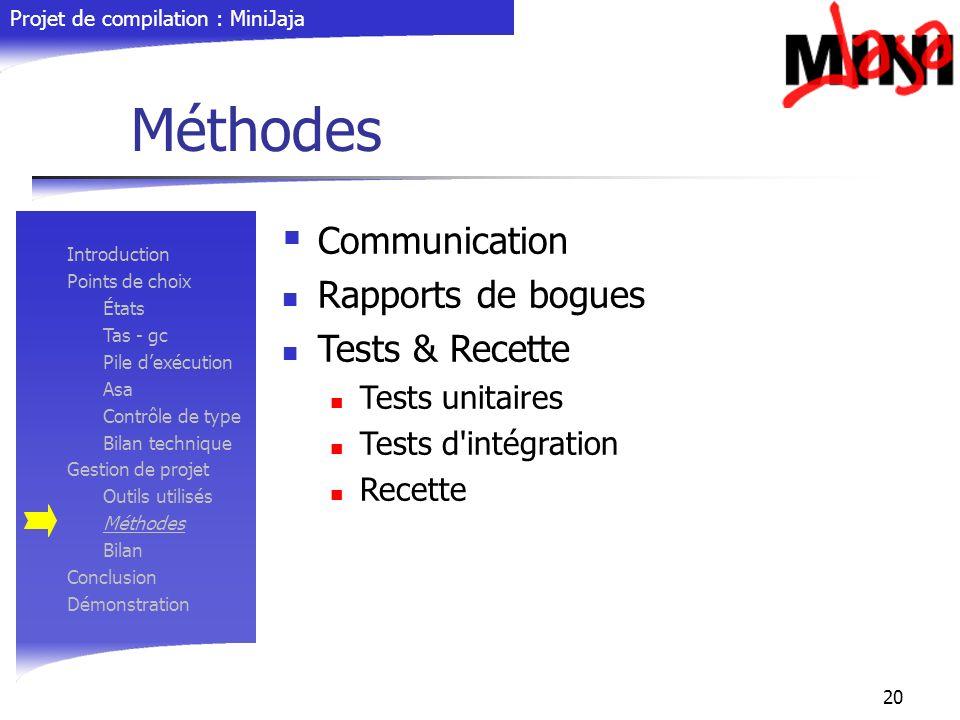 Projet de compilation : MiniJaja 20 Méthodes Communication Rapports de bogues Tests & Recette Tests unitaires Tests d'intégration Recette Introduction