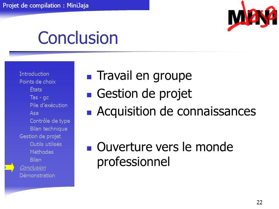 Projet de compilation : MiniJaja 22 Conclusion Introduction Points de choix États Tas - gc Pile dexécution Asa Contrôle de type Bilan technique Gestio