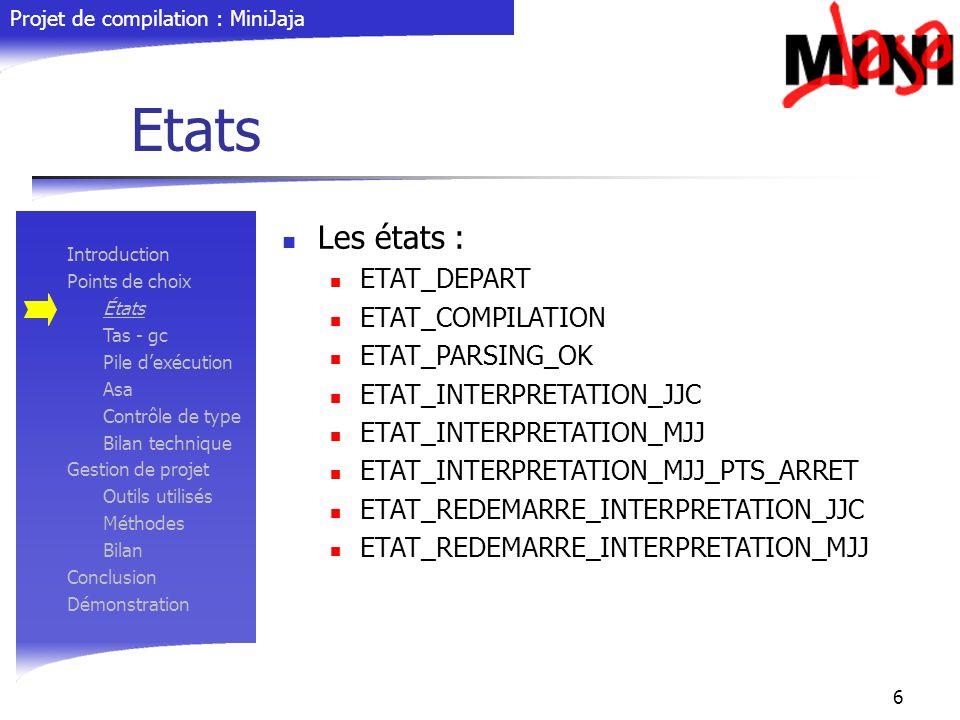 Projet de compilation : MiniJaja 6 Etats Introduction Points de choix États Tas - gc Pile dexécution Asa Contrôle de type Bilan technique Gestion de p