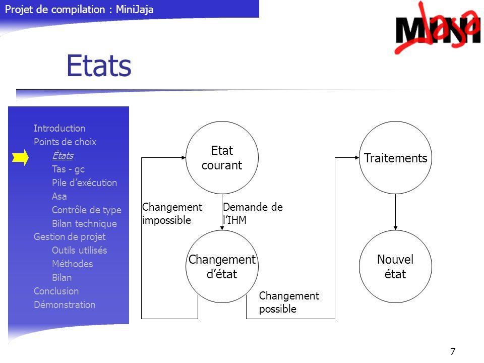 Projet de compilation : MiniJaja 7 Etats Introduction Points de choix États Tas - gc Pile dexécution Asa Contrôle de type Bilan technique Gestion de p