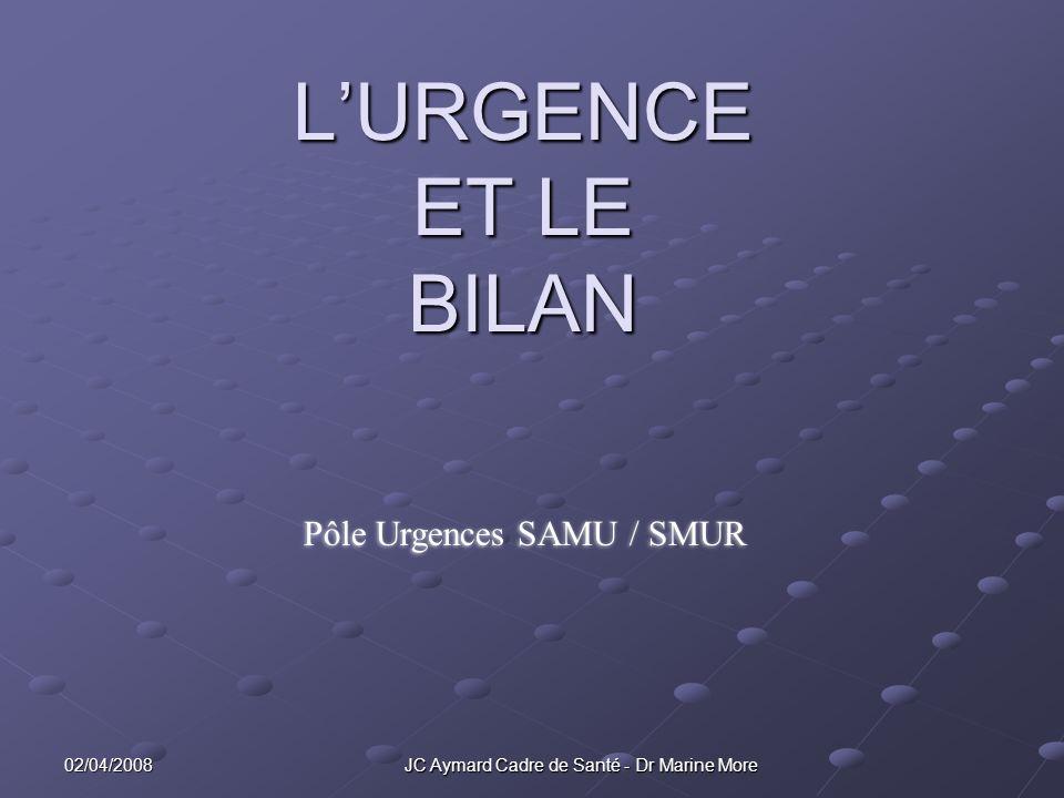 02/04/2008 JC Aymard Cadre de Santé - Dr Marine More LURGENCE ET LE BILAN Pôle Urgences SAMU / SMUR
