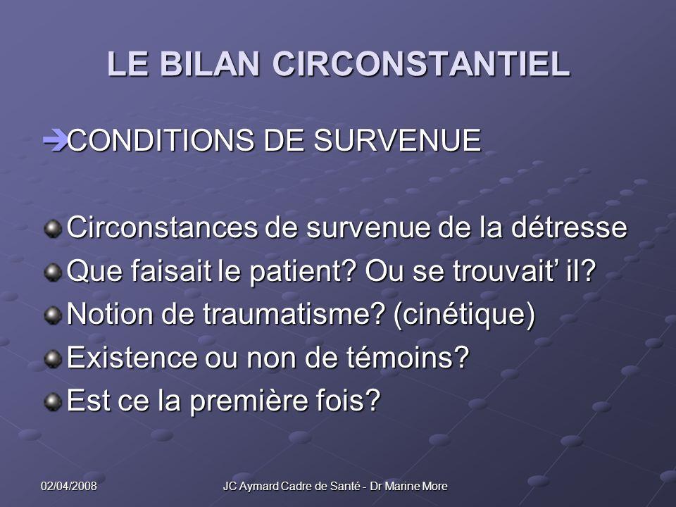 02/04/2008 JC Aymard Cadre de Santé - Dr Marine More LE BILAN CIRCONSTANTIEL CONDITIONS DE SURVENUE CONDITIONS DE SURVENUE Circonstances de survenue de la détresse Que faisait le patient.