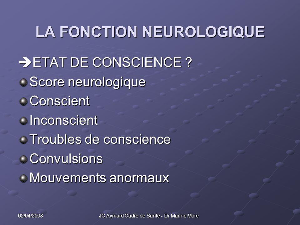 02/04/2008 JC Aymard Cadre de Santé - Dr Marine More LA FONCTION NEUROLOGIQUE ETAT DE CONSCIENCE .