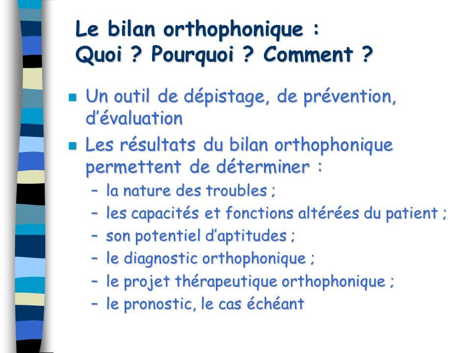 Le bilan orthophonique : Quoi .Pourquoi . Comment .