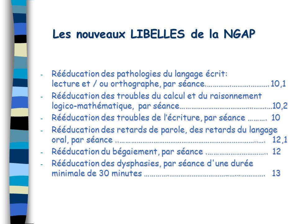 Les nouveaux LIBELLES de la NGAP - Rééducation des pathologies du langage écrit: lecture et / ou orthographe, par séance.………….……….……….