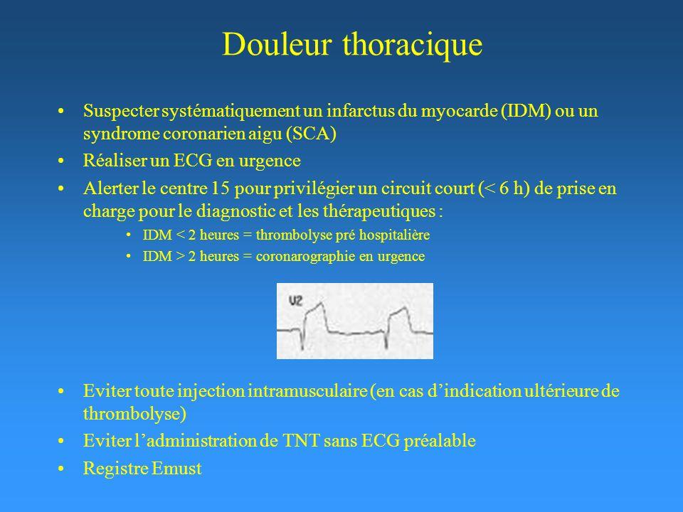 Douleur thoracique Suspecter systématiquement un infarctus du myocarde (IDM) ou un syndrome coronarien aigu (SCA) Réaliser un ECG en urgence Alerter le centre 15 pour privilégier un circuit court (< 6 h) de prise en charge pour le diagnostic et les thérapeutiques : IDM < 2 heures = thrombolyse pré hospitalière IDM > 2 heures = coronarographie en urgence Eviter toute injection intramusculaire (en cas dindication ultérieure de thrombolyse) Eviter ladministration de TNT sans ECG préalable Registre Emust