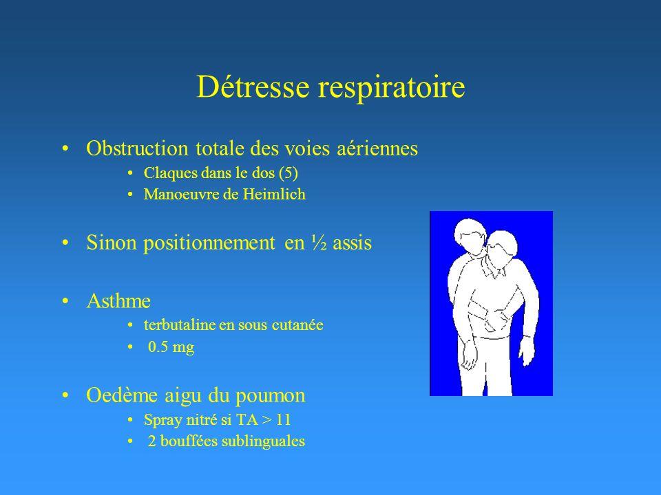Détresse respiratoire Obstruction totale des voies aériennes Claques dans le dos (5) Manoeuvre de Heimlich Sinon positionnement en ½ assis Asthme terbutaline en sous cutanée 0.5 mg Oedème aigu du poumon Spray nitré si TA > 11 2 bouffées sublinguales
