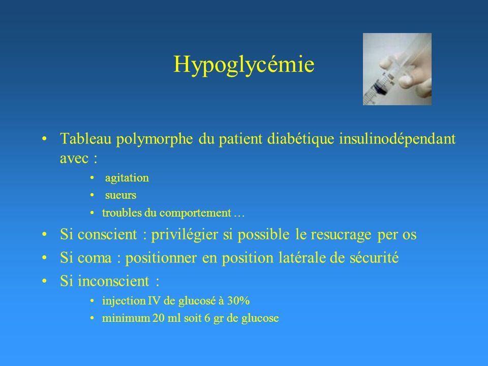 Hypoglycémie Tableau polymorphe du patient diabétique insulinodépendant avec : agitation sueurs troubles du comportement … Si conscient : privilégier