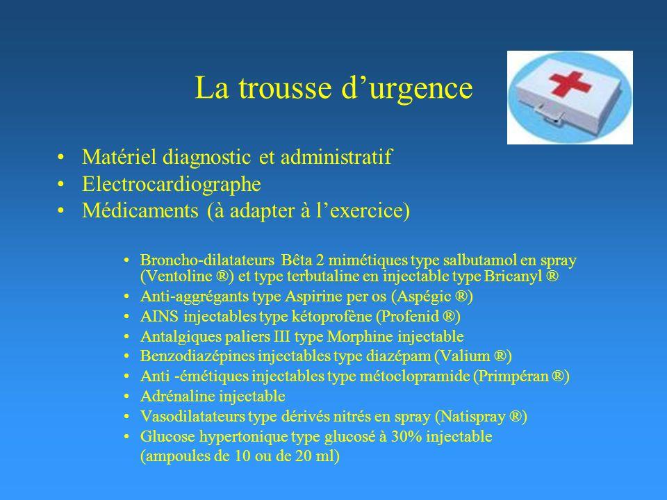 La trousse durgence Matériel diagnostic et administratif Electrocardiographe Médicaments (à adapter à lexercice) Broncho-dilatateurs Bêta 2 mimétiques