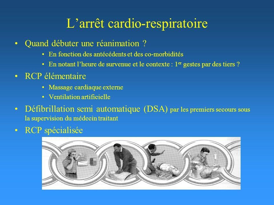 Larrêt cardio-respiratoire Quand débuter une réanimation ? En fonction des antécédents et des co-morbidités En notant lheure de survenue et le context