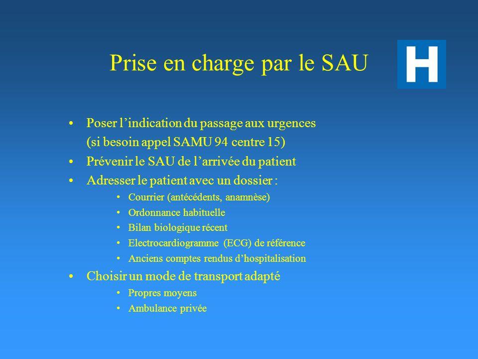 Prise en charge par le SAU Poser lindication du passage aux urgences (si besoin appel SAMU 94 centre 15) Prévenir le SAU de larrivée du patient Adress