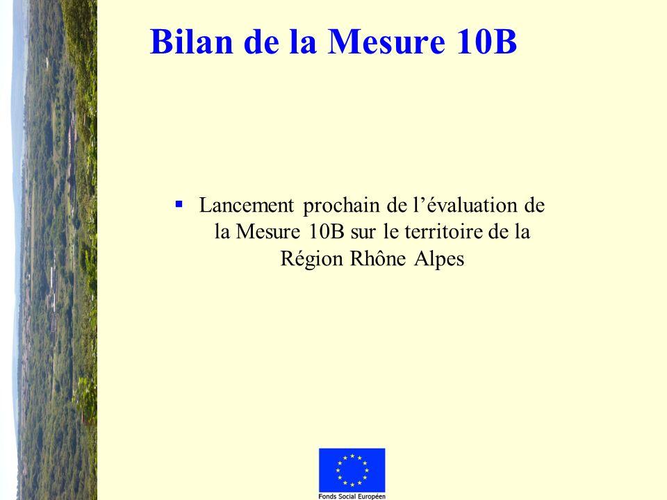 Bilan de la Mesure 10B Lancement prochain de lévaluation de la Mesure 10B sur le territoire de la Région Rhône Alpes