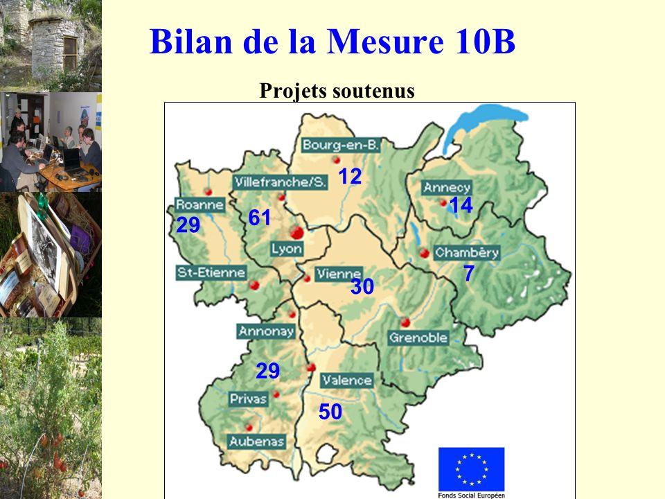Bilan de la Mesure 10B Projets soutenus 29 61 29 30 7 50 12 14