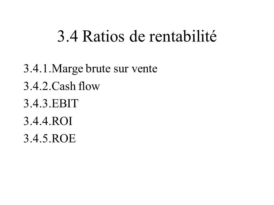3.4 Ratios de rentabilité 3.4.1.Marge brute sur vente 3.4.2.Cash flow 3.4.3.EBIT 3.4.4.ROI 3.4.5.ROE