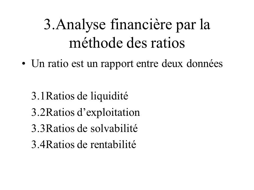 3.Analyse financière par la méthode des ratios Un ratio est un rapport entre deux données 3.1Ratios de liquidité 3.2Ratios dexploitation 3.3Ratios de solvabilité 3.4Ratios de rentabilité