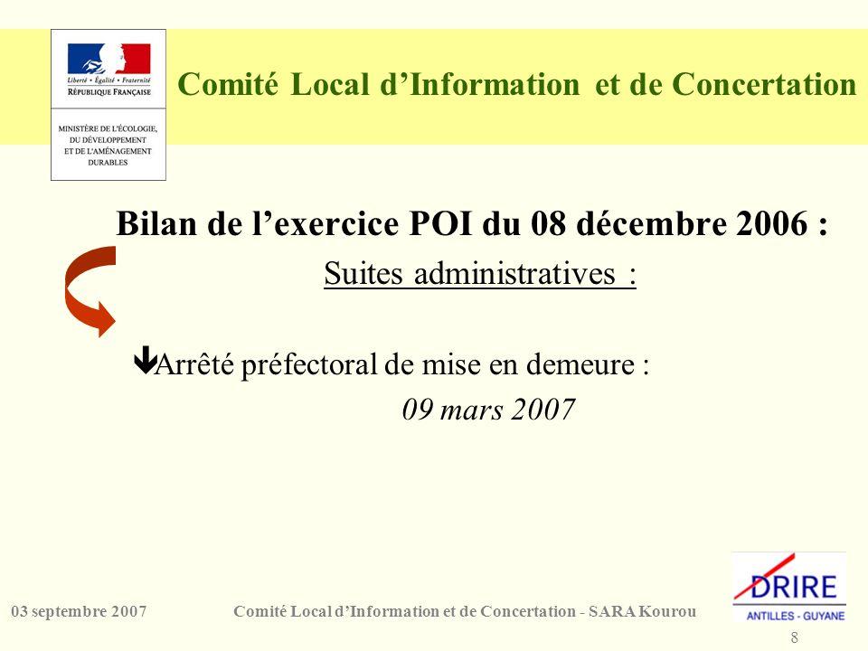 8 Comité Local dInformation et de Concertation - SARA Kourou03 septembre 2007 Comité Local dInformation et de Concertation Bilan de lexercice POI du 0
