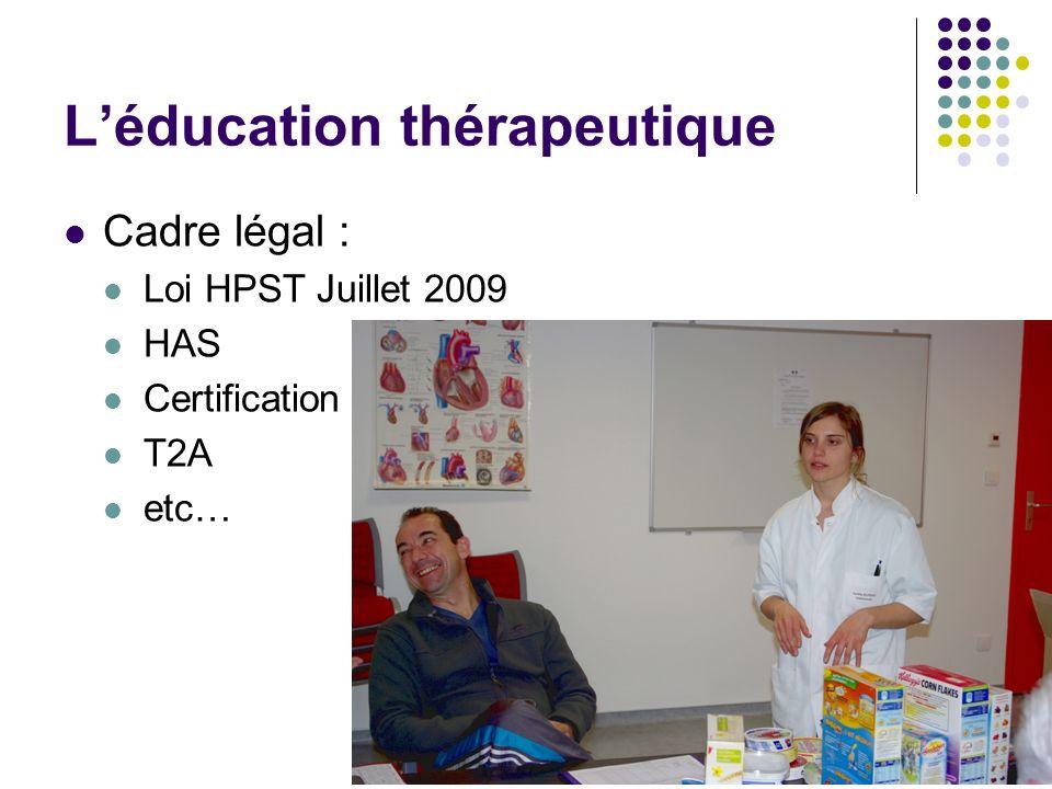 Léducation thérapeutique Cadre légal : Loi HPST Juillet 2009 HAS Certification T2A etc…