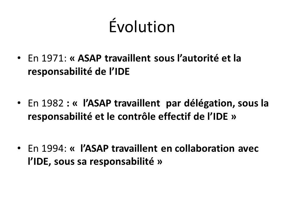 Rappelons que la collaboration IDE/AS ou AP, se fait dans le cadre du rôle propre de lIDE, concernant les actes par lesquels lAS a reçu une formation(définie par le programme de 2005).