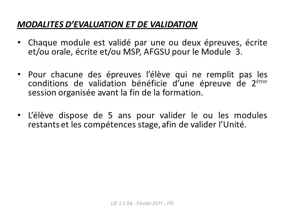 Évaluation des stages cliniques À chaque stage, évaluation du niveau dacquisition pour chacune des unités de compétences.