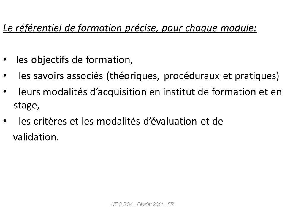 Le référentiel de formation précise, pour chaque module: les objectifs de formation, les savoirs associés (théoriques, procéduraux et pratiques) leurs
