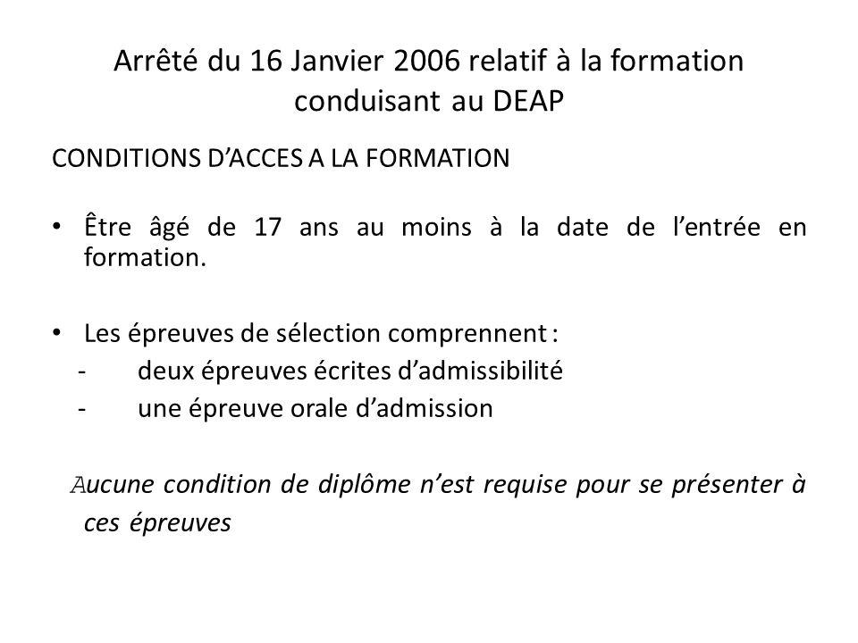 Arrêté du 22 octobre 2005 relatif à la formation conduisant au DEAS Pour les DEAS, Être âgé de 17 ans au moins à la date de lentrée en formation.