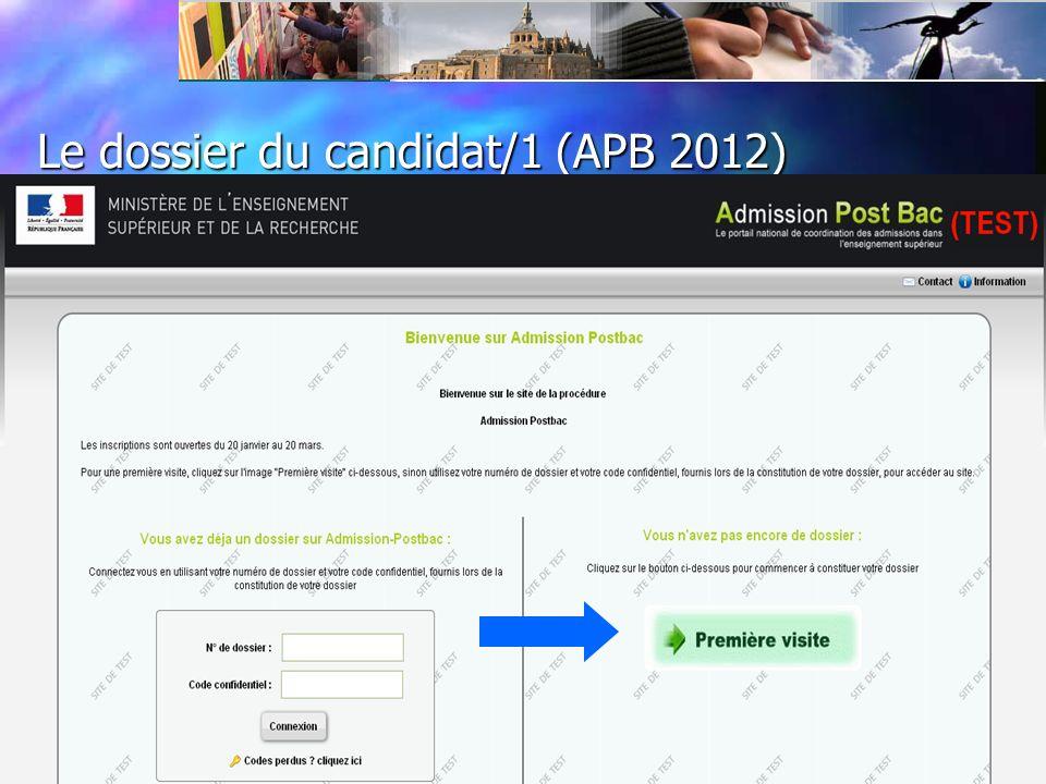 Le dossier du candidat / vœux / candidatures 1