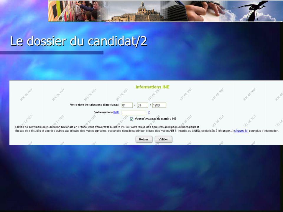 Le dossier du candidat/vœux/ candidatures 2