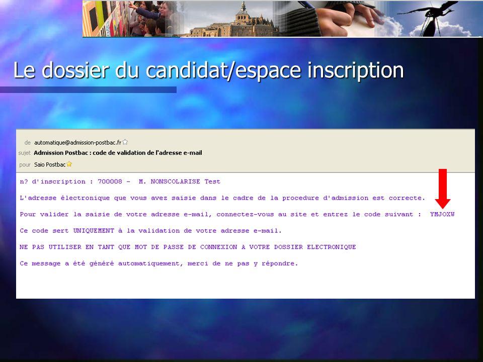 Le dossier du candidat/vœux/ordre des voeux Déplacer avec un autre N° ou enlever