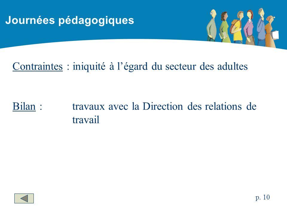 Contraintes : iniquité à légard du secteur des adultes Bilan : travaux avec la Direction des relations de travail Journées pédagogiques p.