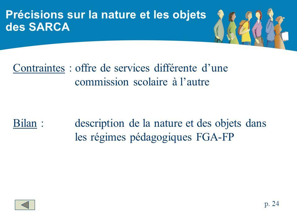 Contraintes : offre de services différente dune commission scolaire à lautre Bilan :description de la nature et des objets dans les régimes pédagogiques FGA-FP Précisions sur la nature et les objets des SARCA p.