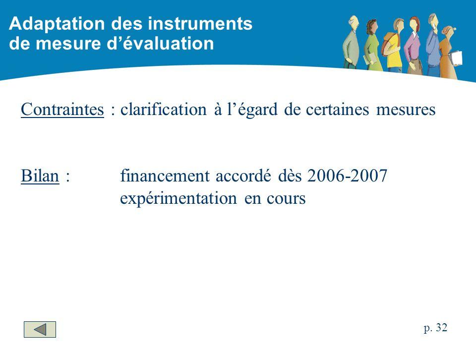 Contraintes : clarification à légard de certaines mesures Bilan :financement accordé dès 2006-2007 expérimentation en cours Adaptation des instruments de mesure dévaluation p.