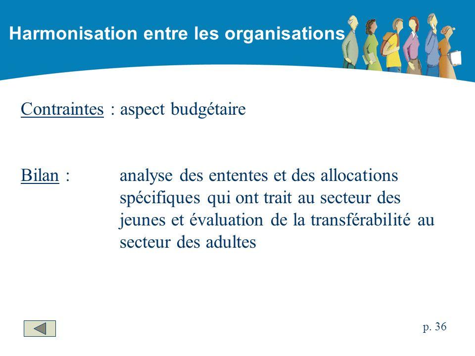 Contraintes : aspect budgétaire Bilan :analyse des ententes et des allocations spécifiques qui ont trait au secteur des jeunes et évaluation de la transférabilité au secteur des adultes Harmonisation entre les organisations p.