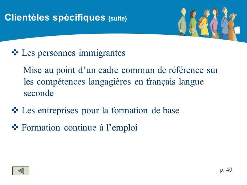 Les personnes immigrantes Mise au point dun cadre commun de référence sur les compétences langagières en français langue seconde Les entreprises pour