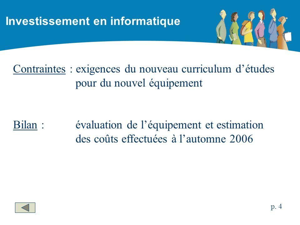 Contraintes : exigences du nouveau curriculum détudes pour du nouvel équipement Bilan : évaluation de léquipement et estimation des coûts effectuées à lautomne 2006 Investissement en informatique p.