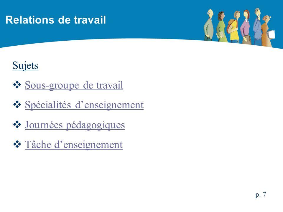 Sujets Sous-groupe de travail Spécialités denseignement Journées pédagogiques Tâche denseignement Relations de travail p. 7