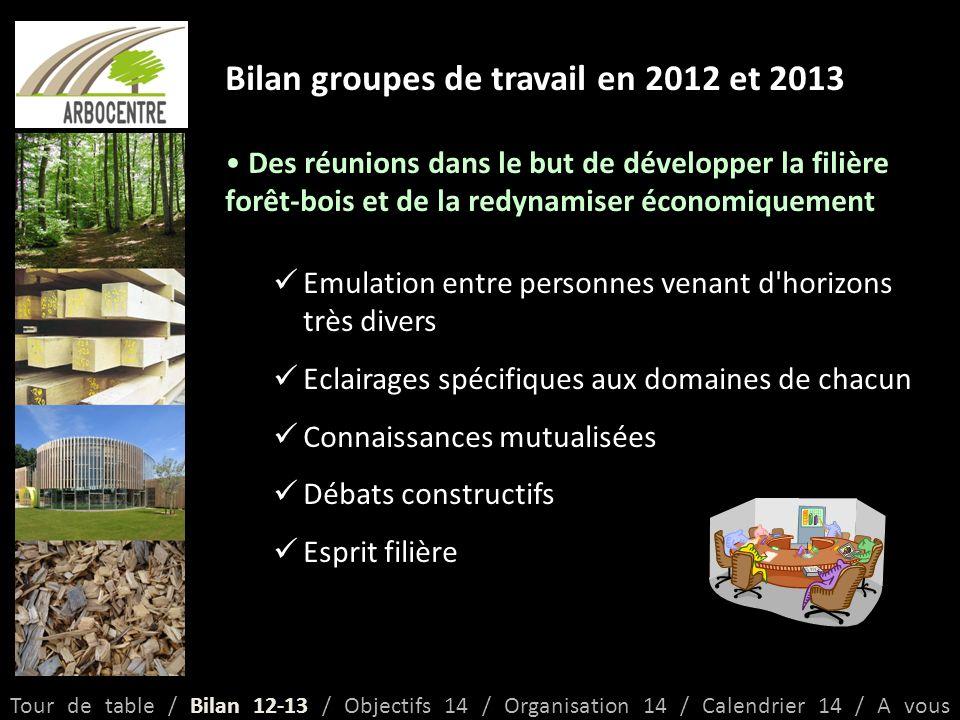 Bilan groupes de travail en 2012 et 2013 Faire émerger des projets pertinents et concertés pour le développement de la filière forêt-bois Tour de table / Bilan 12-13 / Objectifs 14 / Organisation 14 / Calendrier 14 / A vous Année20122013 Groupe1234Total1234 Projets Présentés 54810278410729 Projets Retenus 527620 5 +1.