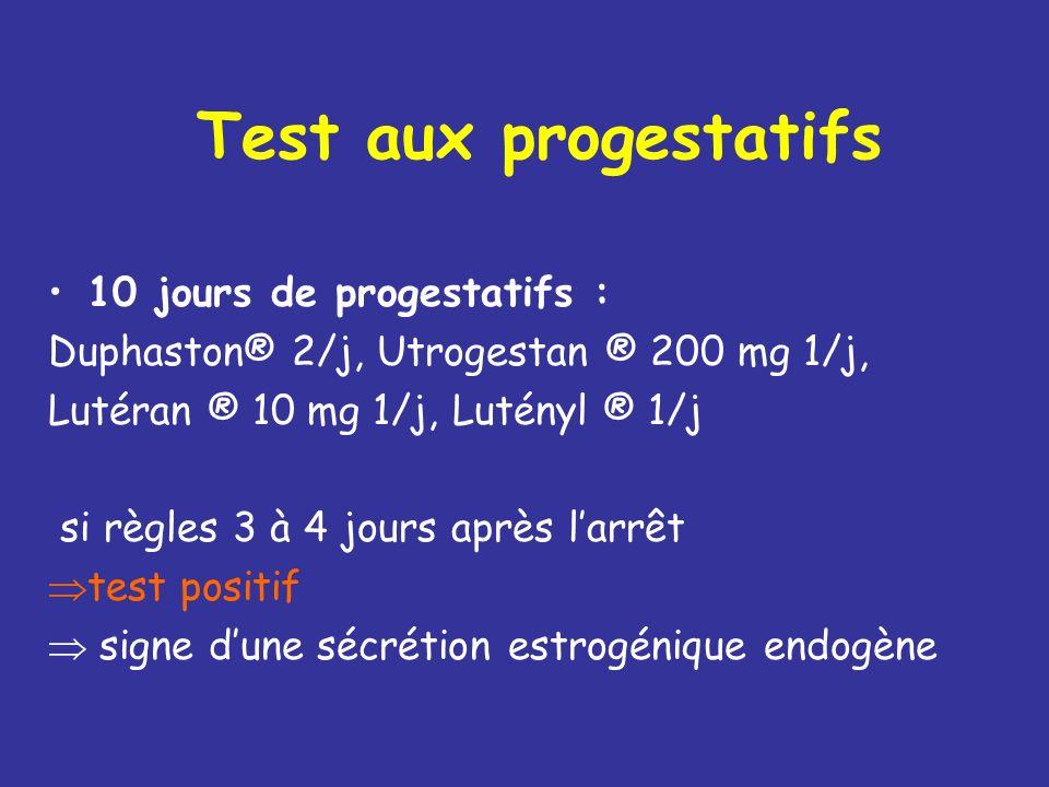 Estradiol Attention aux valeurs basses à cause du seuil de sensibilité pmol/l : 3,467 = pg/ml Préférer le test aux progestatifs +++