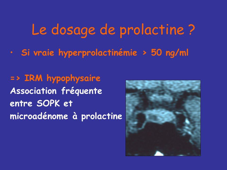SI PROLACTINE > 50 ng/ml Médicaments ? TSH ? Fonction rénale ? ELIMINER UN ADENOME A PROLACTINE par une IRM hypothalamo-hypophysaire
