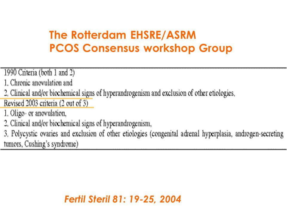 Fertil Steril 81: 19-25, 2004 The Rotterdam EHSRE/ASRM PCOS Consensus workshop Group