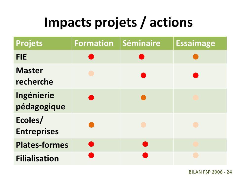 Impacts projets / actions ProjetsFormationSéminaireEssaimage FIE Master recherche Ingénierie pédagogique Ecoles/ Entreprises Plates-formes Filialisation BILAN FSP 2008 - 24