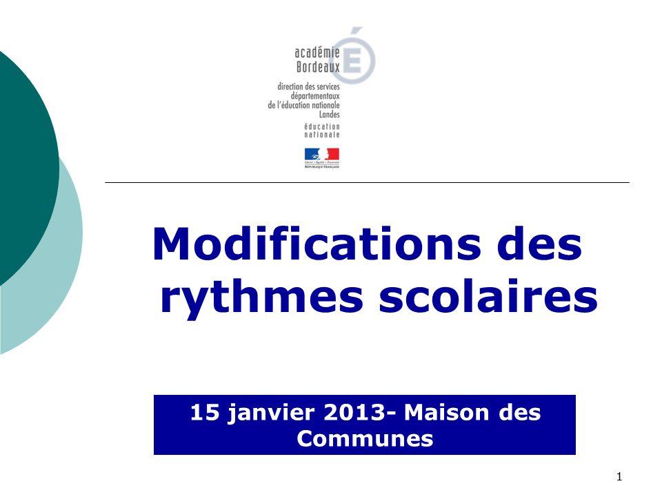 11 Modifications des rythmes scolaires 15 janvier 2013- Maison des Communes