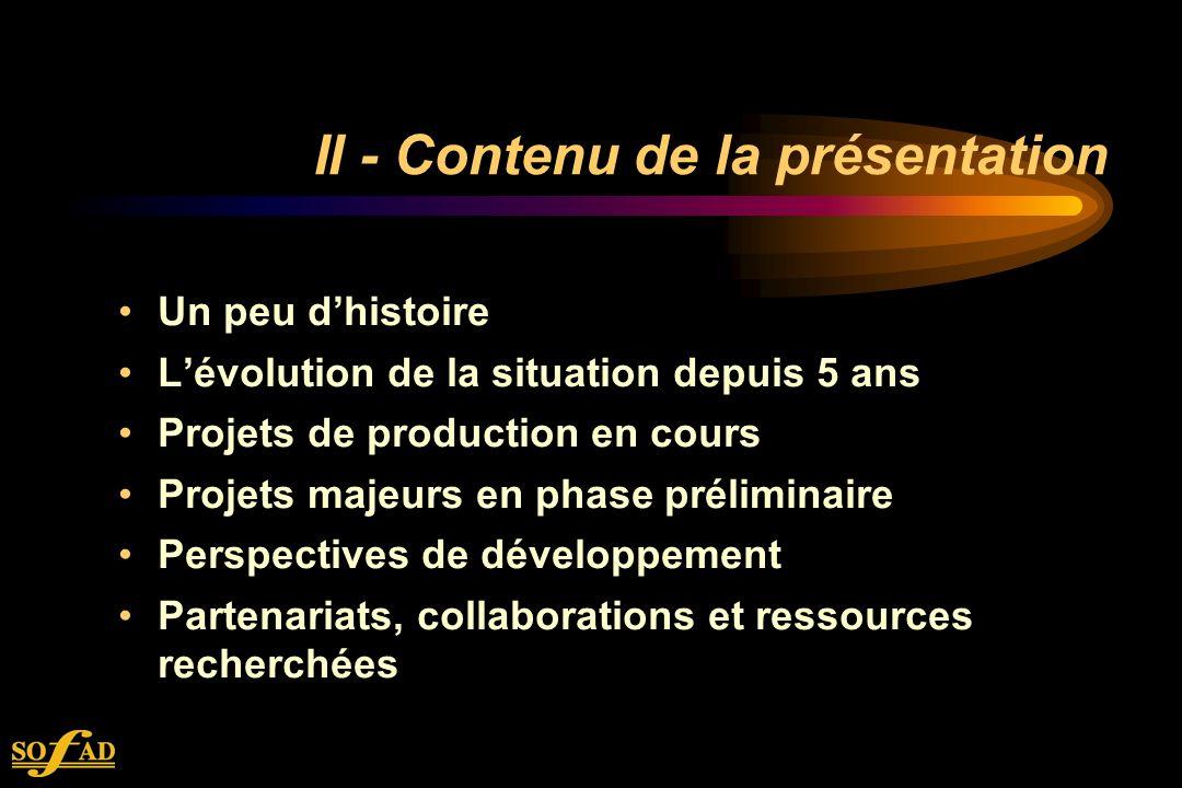 II - Contenu de la présentation Un peu dhistoire Lévolution de la situation depuis 5 ans Projets de production en cours Projets majeurs en phase préliminaire Perspectives de développement Partenariats, collaborations et ressources recherchées
