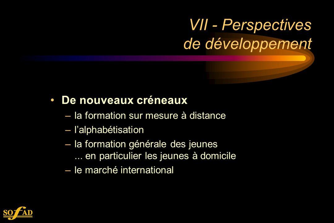 VII - Perspectives de développement De nouveaux créneaux –la formation sur mesure à distance –lalphabétisation –la formation générale des jeunes...